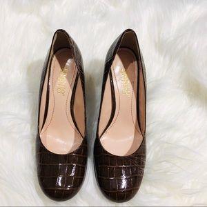 Franco Sarto leather upper wedge heel shoe
